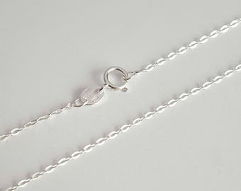 Sterling Silver, Jewelry Chain, Flat Oval Cable, Finished Chain, Dainty Chain, Tiny Necklace, 18 inch, 1.3mm, Fast Shipping from USA