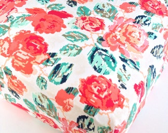 Coral Mint ROSE Crib Sheet / Pixilated Rose Pink Nursery Bedding Girls Changing Pad Covers / Mini Crib Sheets/ Fitted Crib Bedding Floral