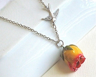 Real Rosebud Necklace - Yellow and Red, Real Flower Jewelry, Botanical Jewelry, Miniature Rosebud Necklace