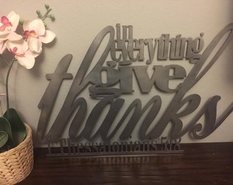 8 Colors Available! Give Thanks Metal Bible Verse Decor