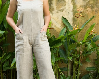 Marta Jumpsuit, Linen Jumpsuit, Casual Jumpsuit, Sleeveless Jumpsuit, Summer Jumpsuit, Beige Jumpsuit, 137-166