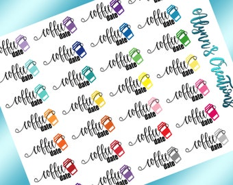 Coffee Date //Words & Icons, Multi Color, Planner Stickers, Calendar Stickers, Matte Sticker Paper