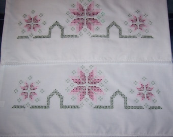 Hand Embroidered Pillow Cases with Lace Edge