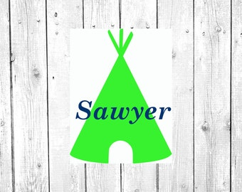 Teepee Decal, Teepee Monogram, Vinyl Decal, Yeti Decal, Car Decal, Gifts for her, Phone Decal, Laptop Decal, Yeti Cup