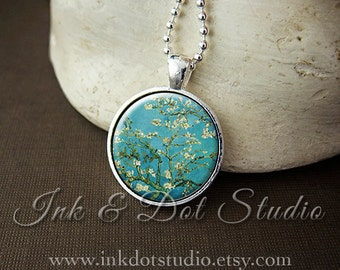 Blossoms Art Pendant Necklace - Vincent Van Gogh Almond Blossom Painting, Van Gogh Necklace, Van Gogh Pendant