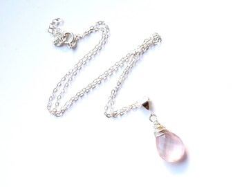 Rose Quartz Pendant Necklace, Dainty Gold Sterling Silver Necklace, Wire Wrapped Healing Crystal Necklace, Love Gift for Girlfriend