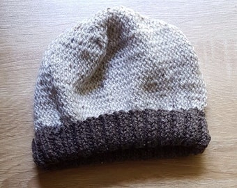 Nordic white and brown wool beanie