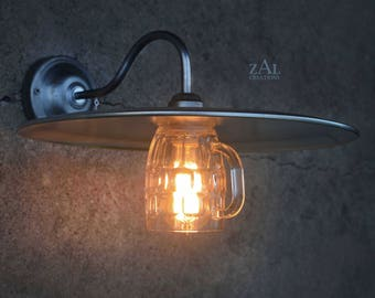 Wall light. Beer Mug and Pizza Pan. Sconce. Gooseneck. Steampunk. Industrial. Edison.