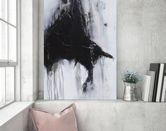 Textured Painting, Minimalist Painting, Black White Painting, Abstract Painting, Sculpted Painting, Original Painting, Heather Day, 36x24