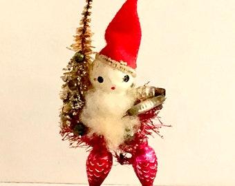 Vintage Santa Celluloid Face, Mercury Glass Beads, Bottle Brush Tree, Spun Cotton Beard, 4 inches, Hand Painted, Wood Base, Japan, 1940s
