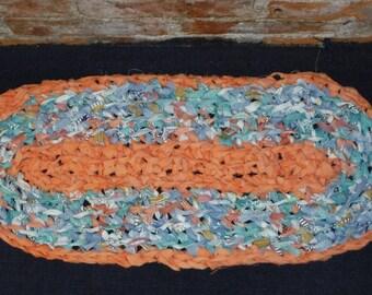 "Imperfect Oval Crochet Rag Table Runner Rug Mat Blue Orange Green 26"" x 11"" Handmade and Crocheted by Me"
