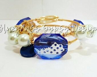 University of Kentucky Wire Wrapped Bangle set, UK, Bracelet, Bourbon and Boweties Inspired