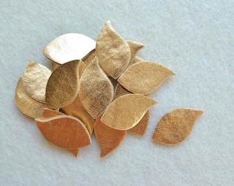 20 Piece Die Cut Felt Gold Metallic Leaves, Style No. 6