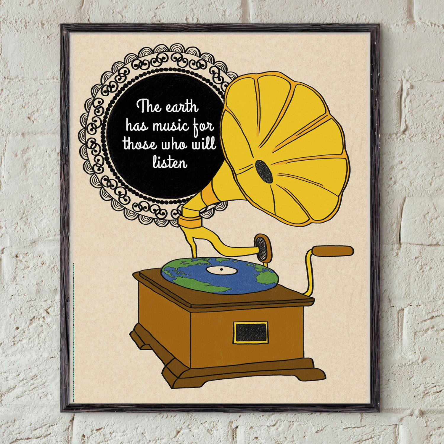 Music Quote Art Gramophone Wall Art Earth Globe Decor