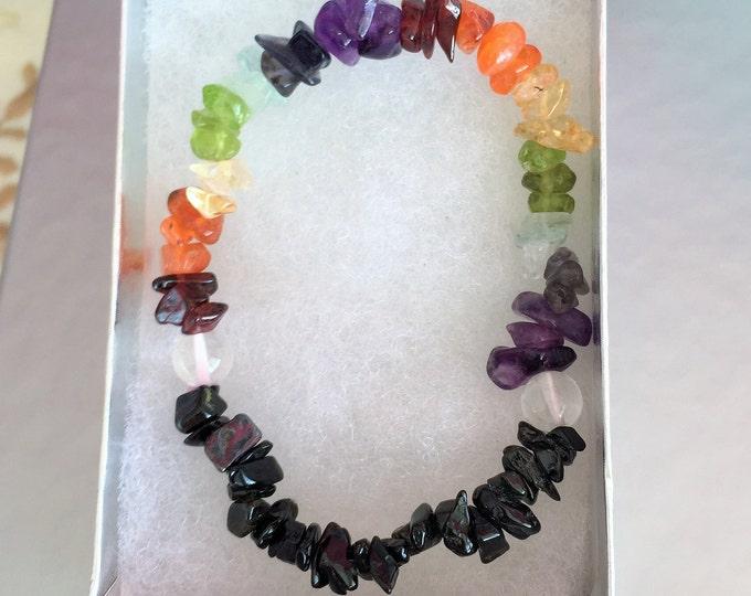 Chakra Bracelet w/ Black Tourmaline, Chakra Crystal Healing Bracelet Jewelry