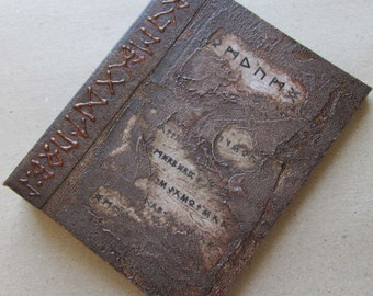 Refillable Journal Distressed Brown Runes 5x4 Handmade Original Textured