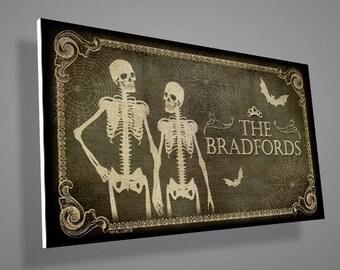 Personalized Skeletons door sign with a custom family name,door sign,family sign,gothic,art,skull,skeleton,bat,digital print,housewarming