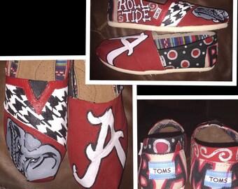 Custom Painted university of Alabama Toms