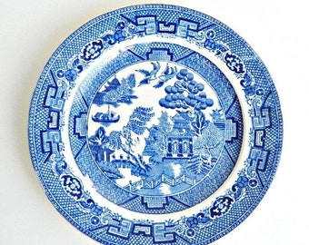 SUMMER SALE English Blue Willow Plate, Allertons English Transfer Ware China Plate, 1930s Salad Plate, Small Plate.