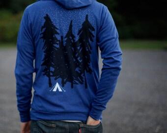 Adventure Camping Tent Sweatshirt, Wanderlust Outdoor Gift Men or Women, LIGHTWEIGHT Blue Zip Up Hoodie, Unisex Hiking Shirt, Starry Night