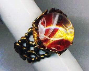 Marbleized Glass Stone Ring . Adjustable Filigree Ring . Kaleidoscopic Magnifying Sphere . Marble - Kaleidoscope - by enchantedbeads on Etsy