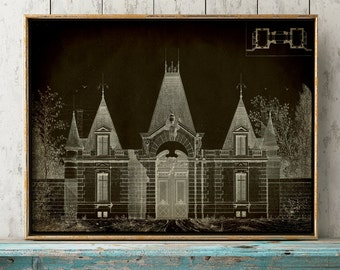 ARCHITECTURE PRINT, Elegant Architecture Poster, Architectural Drawing, Architect Gift, Building Print, Door Castle Print Black, Rustic Art