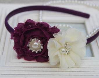 Plum headband, plum flower girl headband, plum and ivory headbands, plum wedding headband, deep purple flower headband, plum hair accessory