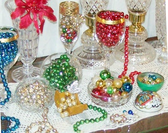 Glass Garland, Mercury Bead Christmas Tree Garland, RED & GREEN, SALE, Mini Christmas Ball Ornaments - R23