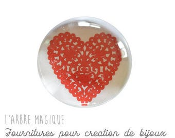 2 cabochons craft love heart message glass 16 mm - N335
