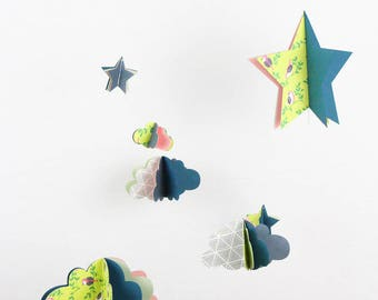 Paper mobile clouds and stars - spring teal birds - limited EDITION - deco gift unisex nursery baby room