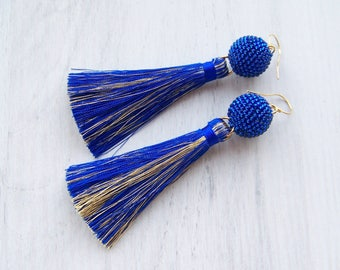 Royal blue Silk Tassel earrings - Boho Tassels - Modern Party tassel earrings - Luxury Silk tassle earrings - Dangle long tassle earrings