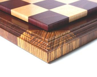 Chess. Chess board. End grain chess board. Purpleheart chess board. Zebrano chess board. Exclusive chess board.
