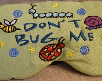 Embroidered Eye Mask, Bugs, Sleeping, Cute Sleep Mask for Kids or Adults, Sleep Blindfold, Slumber Mask, Bugs Design, Sleep Shade, Handmade