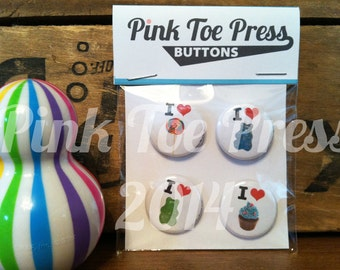 I Love Candy Pinback Button Pack of 4