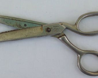 Richards Sheffield England Shears scissors Radiant Golden Age Rustless 7 3/8 inch Metal cuts nicely crafts sewing utility paper