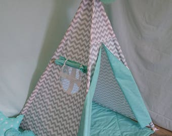 Grey zigzag, Mint, Teepee, Wigwam, Kids Teepee, Playhouse, Kids teepee tent, Tipi Tent, Hand Made, Made to Order