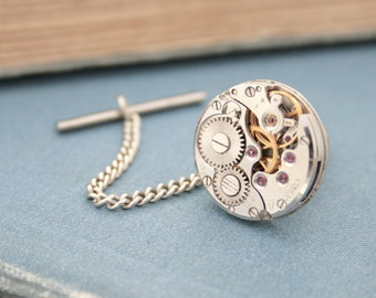Tie Tack with Chain Mens Silver Tie Pin Steampunk Tie Tack Watch Movement Wedding Mens Accessories Metal Tie Tacks Clutch and Chain