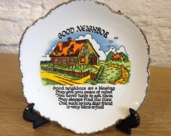 Vintage Decorative Good Neighbor Plate in Good Condition