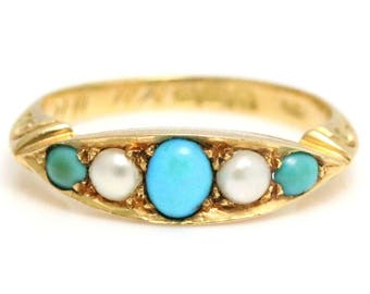 Antique 18ct Gold Turquoise Pearl Ring c.1901