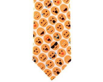 Skinny Tie - Brain Emoji - Orange