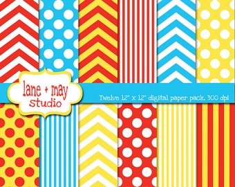 digital scrapbook papers - red, yellow and blue chevron, polka dots and stripes - INSTANT DOWNLOAD