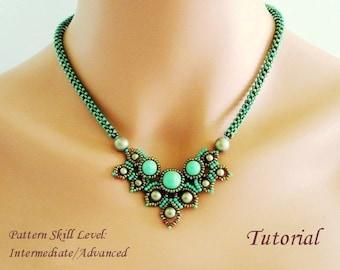 CHIMERE beaded necklace beading tutorial beadweaving pattern seed bead beadwork jewelry beadweaving tutorials beading pattern instructions