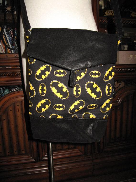 Batman Logo print unisex shoulder bag or crossbody bag size 14x11x3