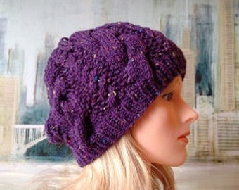 """Women's Knitted Hat """"Erin' slouch cabled winter hat, Purple knit hat, teen knitted hat, slouchy beanie."""