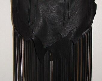 "Artisan Fringed Purse Black Deerskin Designer Handbag in Leather with Fringe ""MY FiRST CRUSH"" Handmade by Debbie Leather"