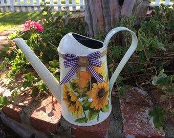 Watering can Decoupage watering can Decorative watering can Garden accessory Decoupage flower vase Vintage vase Chabby Chic watering can