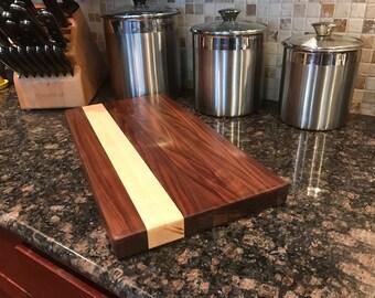 Walnut Maple Butcher Block Cutting Board Exotic Hardwood Hand Made
