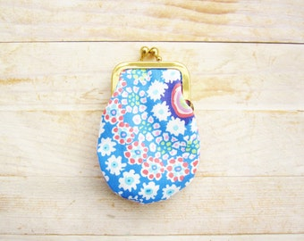 Coin purse mini kiss lock tiny wallet pouch clip frame change purse dots flowers blue red pink white orange kids gift