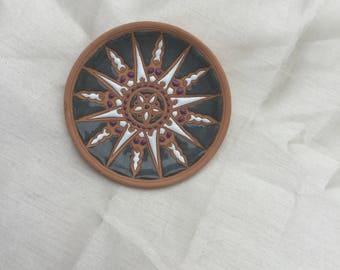 Vintage 1980s Greek Handmade Clay Plate