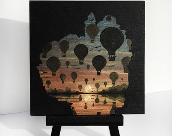 Hot air balloons -cave-sunset -   silhouette - miniature miniature limited edition print mounted on wood